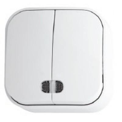 Выключатель накладной 2-клавишный с подсветкой белый EVA