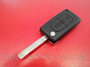 Заготовка выкидного ключа PEUGEOT VA2T без запила с двумя кнопками #A279