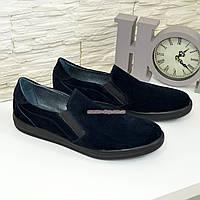 Мужские туфли-мокасины из натуральной замши синего цвета, фото 1