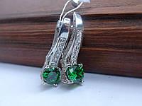 Серебряные серьги с зеленым камнем, фото 1