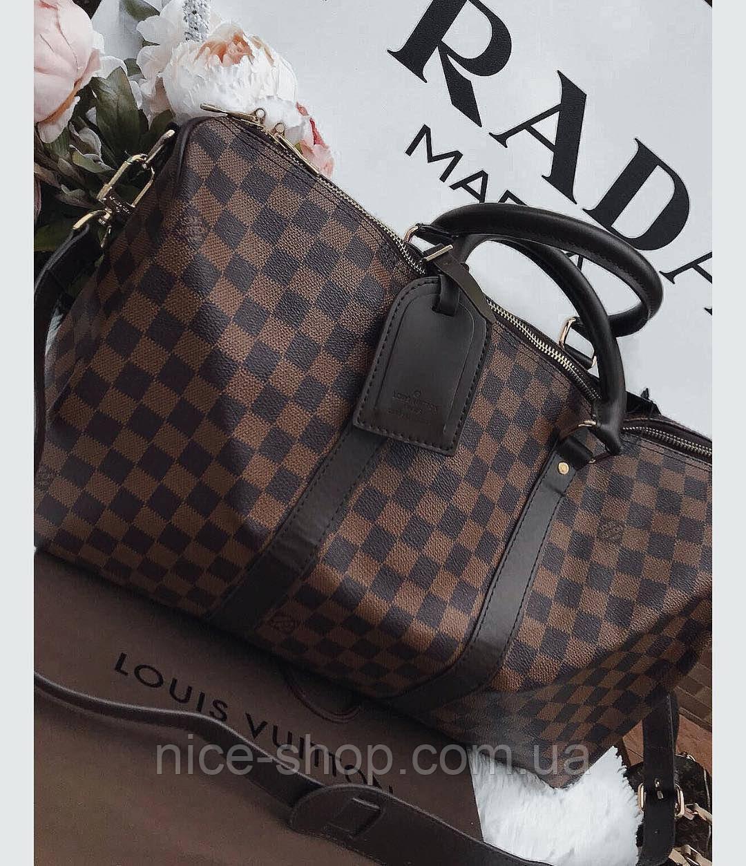 Сумка Louis Vuitton Keppall, 55 см, коричневий шахматка, Люкс