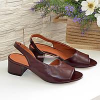 Женские босоножки на невысоком каблуке, цвет бордо, фото 1