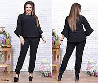 Костюм брючный двойка штаны и кофта женский костюмный креп батал  размеры 46-60 36aeb31526bcb