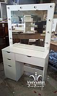 Столик для макияжа с лампами. Модель V256 белый, фото 1