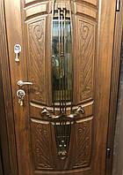 Входная  металлическая уличная дверь с ковкой и стеклопакетом 950мм*2050мм