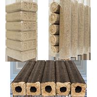 Топливные брикеты из древесины (пиникей, нестро, RUF).