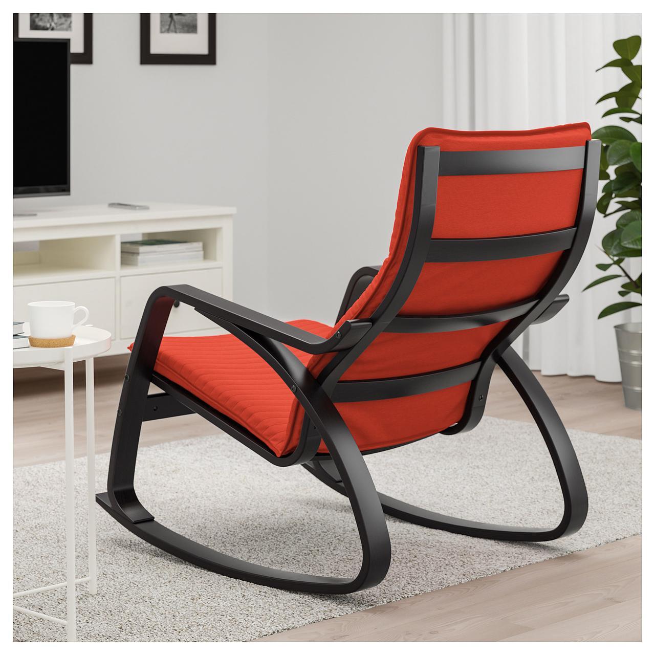 кресло качалка Ikea Poäng Knisa красное черно коричневое 09241547