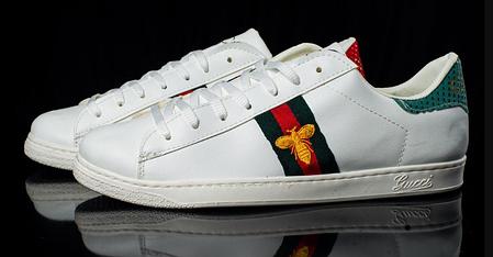 Мужские кроссовки Gucci белые с мухой топ реплика, фото 2