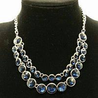 Колье двойное с инкрустацией синими алмазами