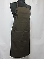 Фартук Atteks с нагрудником поварской / для официанта, бармена длинный коричневый - 00205