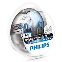 Галогенная лампа Philips H1 CrystalVision 12V 12258CVSM (2шт.)