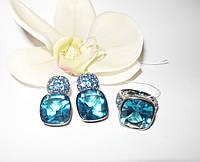 Серебряные серьги и кольцо с кристаллом Swarovski