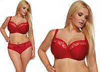 Бюстгальтер красный с полумягкими чашками Kris Line Emotions (женское нижнее белье больших размеров), фото 1