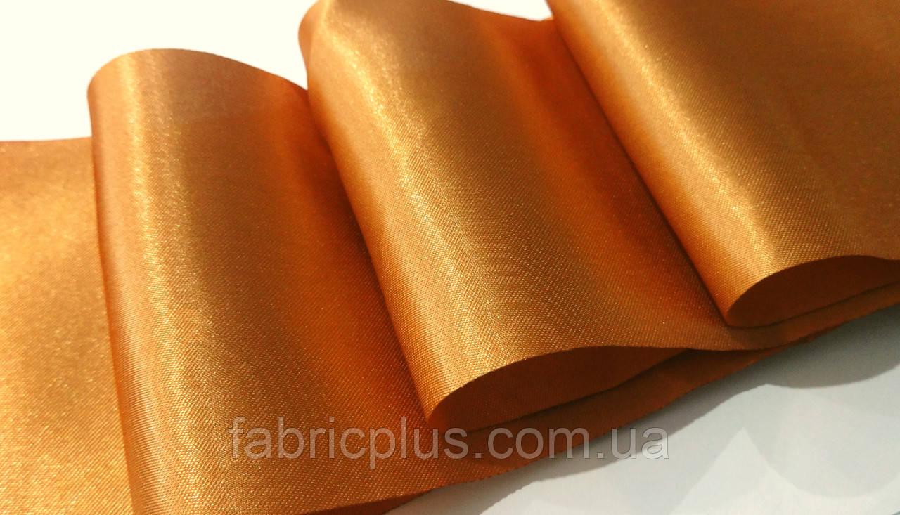 Лента  атласная  10 см  шоколадно-карамельная (53)