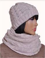 Комплект - шапка и шарф теплый вязаный Mikos 0602