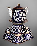 Узбекская национальная посуда Пахта-золотая. Чайный набор, 10 предметов