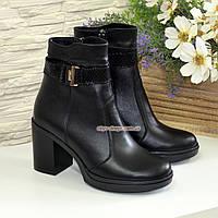 Полуботинки женские черные кожаные зимние на устойчивом каблуке, фото 1
