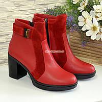 Ботинки красные женские зимние на устойчивом каблуке, натуральная кожа и замша, фото 1