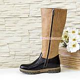 Сапоги подростковые кожаные комбинированные для девочек на утолщённой подошве, фото 2