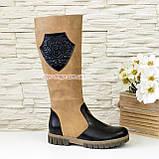 Сапоги подростковые кожаные комбинированные для девочек на утолщённой подошве, фото 3