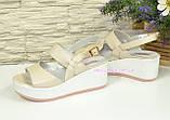 Босоножки бежевые кожаные на невысокой платформе, фото 4