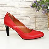 Женские классические кожаные красные туфли на шпильке, фото 2