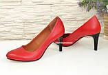 Женские классические кожаные красные туфли на шпильке, фото 3