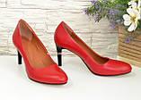 Женские классические кожаные красные туфли на шпильке, фото 4
