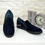 Мужские туфли-мокасины из натуральной замши синего цвета, фото 3