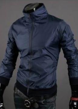 Чоловіча вітровка темно-синя з плащової тканини