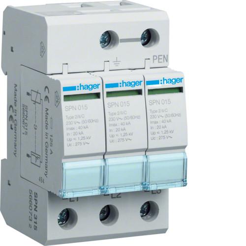 Розрядник Hager SPN315, 3п, 40kA