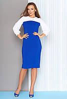 Демисезонное платье миди по фигуре имитация блузки рукав три четверти белое с синим