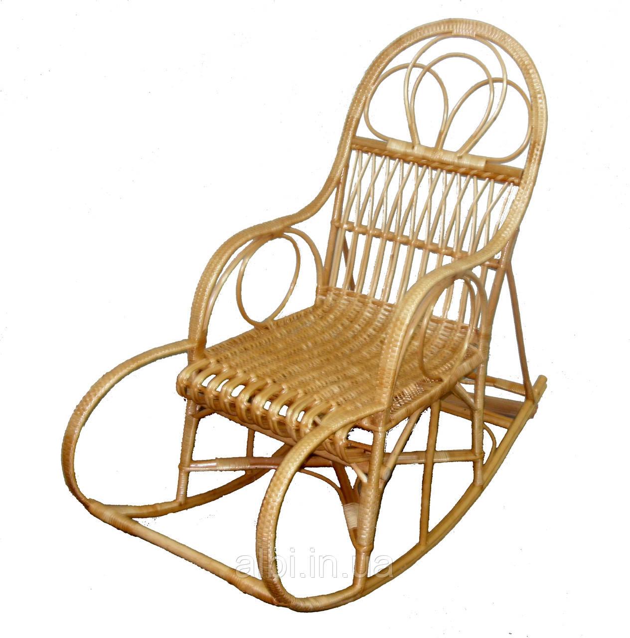 Кресло качалка лозовое плетенное с подставкой для ног  Барин № 7
