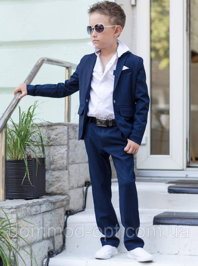 Дитячий стильний костюм №608 для хлопчиків (піджак+штани) р. 134-146/ синій