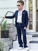 Дитячий стильний костюм №608 для хлопчиків (піджак+штани) р. 134-146/ синій, фото 1