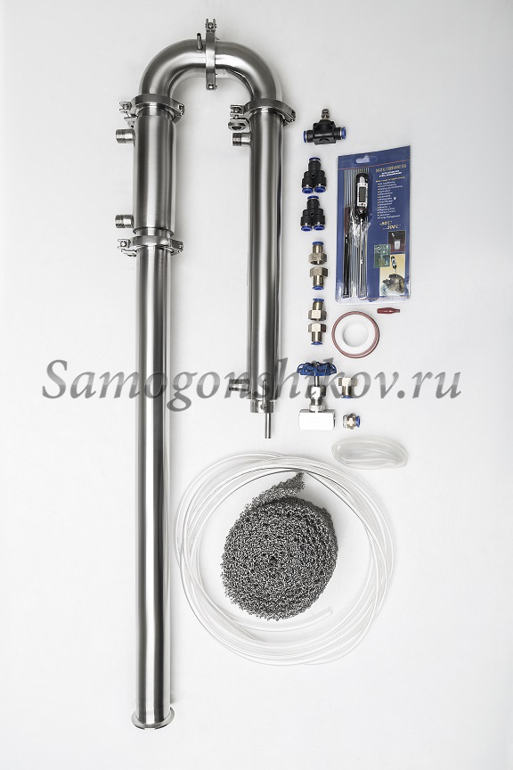 Дистиллятор Сан Саныч «Мега-Хард» СС-3.С царгой 70 см, кожухотрубный дефлегматор