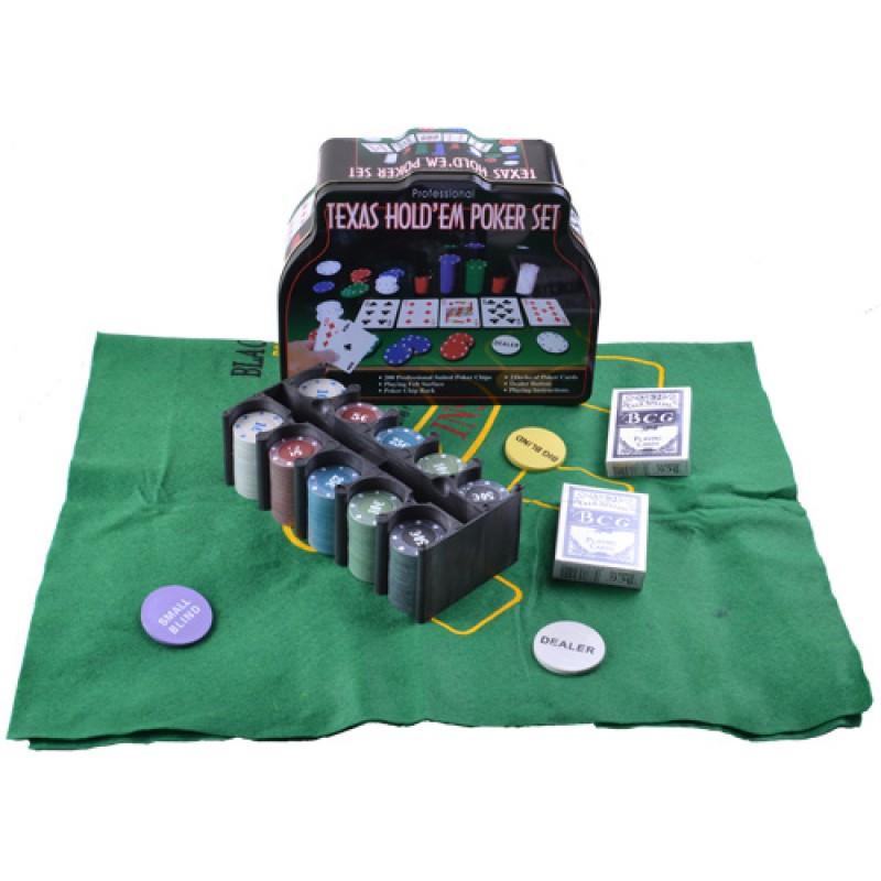 Покерный набор на 200 фишек с номиналом в металлической коробке.№200т-3 - Магазин подарков Часики в Харькове