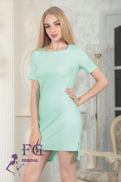 """Однотонное асимметричное летнее женское платье с коротким рукавом """"Невада"""" мятное"""