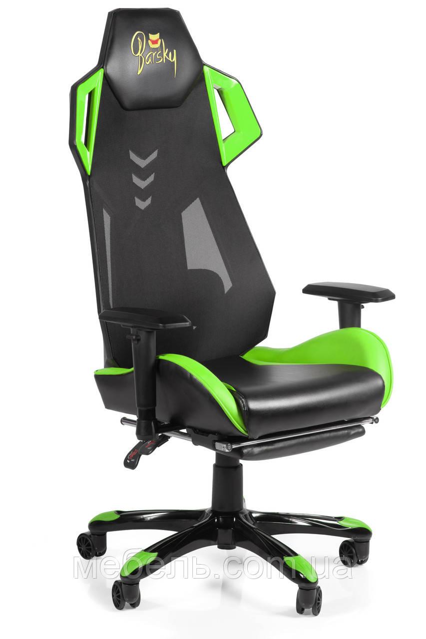 Игровое кресло геймерское Barsky BGM-07 черно-зелёное