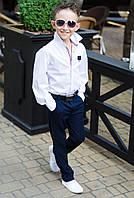 Стильная рубашка для мальчиков №621 (р.116-152)/ белая, фото 1