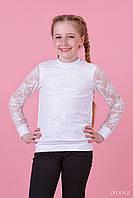 Нарядная школьная белая кофта для девочки с длинным рукавом, Зиронька