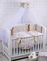 """Детский постельный комплект Asik 8 эл-в """"Мишки на луне"""" № 283, ванильно-коричневый, фото 1"""