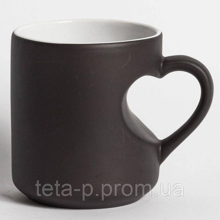 Чашка хамелеон c ручкой-серцем