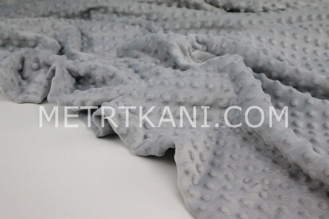 Плюш Minky світло-сірого кольору 350г/м2 № м-21