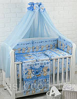 """Детский постельный комплект Asik 8 эл-в """"Мишки с цветочком"""" № 171, голубой, фото 1"""