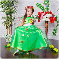 Карнавальное атласное платье Весны для девочки 4-6 лет