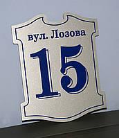 Адресная табличка фигурная серебро + синий