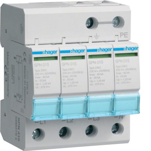 Разрядник Hager SPN415, 4п, 40kA