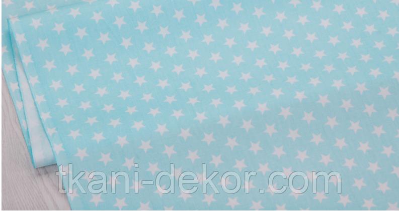 Сатин (хлопковая ткань) на  мяте звезды (компаньон к единорожкам на мяте)