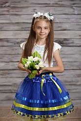 """Жовто-блакитна спідниця """"Україночка"""" з волошками та мереживом"""